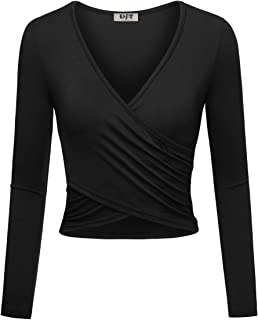 DJT Women's Deep V Neck Long Sleeve Cross Criss Wrap Shirts Crop Tops