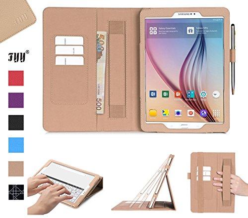 FYY Schutzhülle für Galaxy Tab S2 9.7, PU Ledertasche für Samsung Galaxy Tab S2 9.7,mit Auto Sleep Wake up/Standfunktion und Magnetverschluss,Etui für Samsung Tab S2 9.7/Galaxy Tab S2 9.7 Hülle-Gold