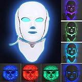 MinvoBeauty LED Máscara Facial de 7 Colores Fotón Therapia para Cara y Cuello, para el Cuidado de la Piel, para Arrugas, Acné, Antienvejecimiento y Rejuvenecimiento de la Piel Saludable