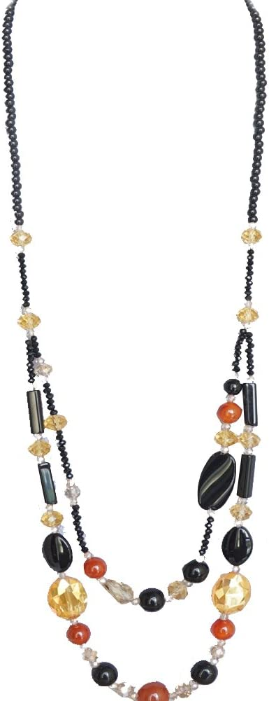 Office Lady Costume Jewelry Handcrafted Max 61% OFF Black famous Bead Crystal 2 Lay