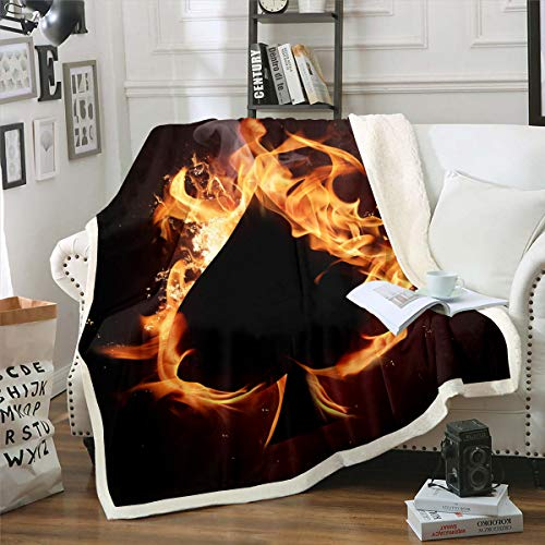 Castle Fairy Flame Spades Ace Print Sherpa Blanket Couch Sofa Chair Bed Black Ace Fire 3D Flannel Throw Breathable Microfiber Blanket Size(60inchx80inch)