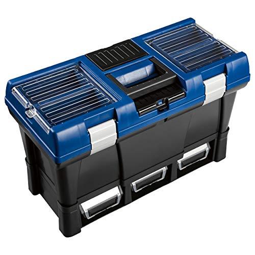 LUX-TOOLS KWK-35 Werkzeugkoffer Comfort | 32,5 cm x 52,5 cm x 25,6 cm (H x B x T) | In Schwarz-Blau mit Organizer im Deckel, herausnehmbarem Werkzeugtray und Lagersichtboxen