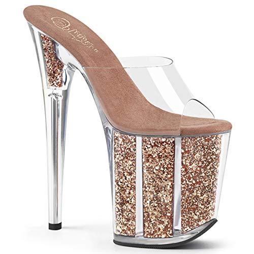 Pleaser Damen FLAMINGO-801G Plateau High Heels Pantolette Rose Gold 37 EU