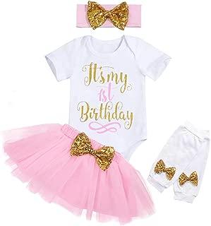 It's My 1st Birthday Baby Girl Romper + Tutu Skirt + Headband + Leg Warmers Birthday Cake Smash Outfits Set