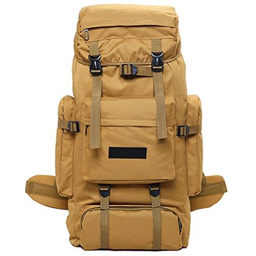 Favourall 70L Sac à Dos Homme School Randonnée Voyage Nylon Antivol Rangement Bagage Ordinateur Backpack de, Marron