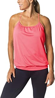 Spaghetti Strap Tank Top for Women with Built-In Bra, Active Top with Zipper Pockets, Running, Biking, Cycling