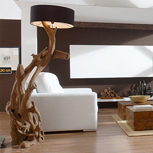 Standlampe Holz Teak RIAZ XL 200cm | Lampe aus Wurzelholz in Handarbeit gefertigt | mit Lampenschirm | Außergewöhnliche Stehlampe Holz aus echter Teak Wurzel | Teakholzlampe | Treibholz Lampe