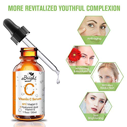 518AELzlblL - Super Vitamin C Serum for Face, Anti Aging & Anti Wrinkle Whitening Facial Serum with Niacinamide, Vitamin E, Hyaluronic Acid, and Salicylic Acid, 1 oz (Orange)