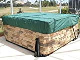 Covermates Square Hot Tub Cover - Light Weight Material, Weather Resistant, Elastic Hem, Outdoor Living Covers - Green