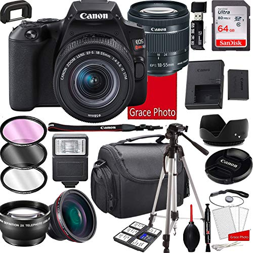 Canon EOS Rebel SL3 DSLR Camera with 18-55mm f/4-5.6 is STM Zoom Lens , 64GB Memory,Case, Tripod and More (28pc Bundle)
