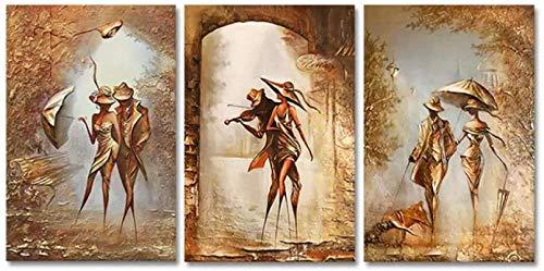 HHLSS Impresiones para Paredes 3x40x60cm sin Marco Retro romántico Pareja Bailando música Cartel Abstracto e imágenes decoración del hogar