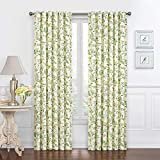 Waverly Carolina Crewel Rod Pocket Curtains for Living Room, Single Panel, 52x84 / 84 Inches, Spring