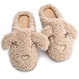 Women's Cute Animal Dog Slippers,Memory Foam Warm Soft Comfy Plush Fleece Fluffy House Slippers for Girls,Slip On Indoor Outdoor Bedroom Cozy Winter Womens Slippers with Anti-Skid Sole Pink Grey Beige