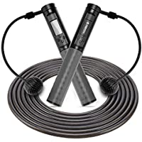 Feecco Digital Calorie Counting Jump Rope for Indoor and Outdoor Workout (Gray)