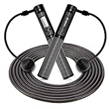 FEECCO Jump Rope with Counter – Digital Calorie Counting Jump Rope – Cordless Skipping Rope – Weighted Jump Rope for Indoor and Outdoor Workout – Adjustable Rope Length and 3-Digital Modes Jumping Rope
