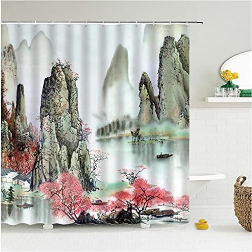 hokkk 150 * 180 cm 3D Estilo Flor pájaro Cortinas de Ducha Cortina de baño Impermeable Cortina de Ducha de Tela Estampada con decoración de Ganchos