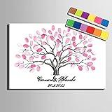 FANGYAO Personalizada Pintura Huellas Dactilares Impresiones de la Lona - árbol Rosa (Incluye 12 Colores de Tinta) de la Boda del Coral, 60 * 80cm