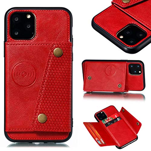 iPhone X Wallet Case with Card Holder, iPhone XS Case Wallet Premium PU Leather Kickstand Card Slots, Double Magnetic Clasp and Durable Shockproof Cover red