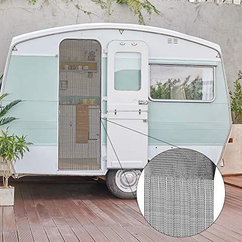 Bestlivings Fadenvorhang (56x185cm) in Anthrazit, Caravan Camping Fadengardine ideal für Wohnwagen/Wohmobil als Türvorhang
