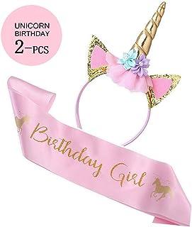 Unicorn Birthday Girl Set of Gold Glitter Unicorn Headband Pink Satin Sash for Happy Birthday Unicorn Party Supplies Favor...