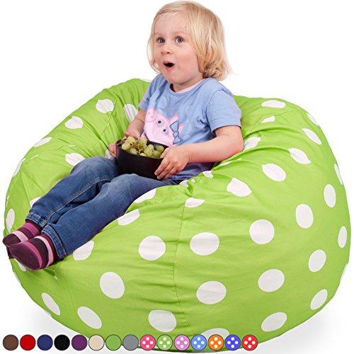 Kids Kinder Sitzsack in Grün mit Weißen Punkten - Waschmaschinenfest - Großer, Weicher und Komfortabler Bezug mit Memory Schaumstoff Füllung - Gemütlicher Gaming Sitz Sack & Bett Möbel Bean Bag