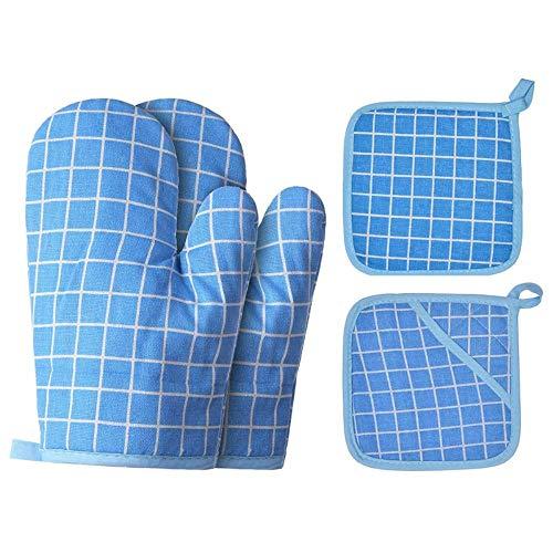 Houer Katoen Linnen Handschoenen Magnetron Handschoenen Potmatten Geïsoleerde Pads Barbecue Anti-ijzer Handschoenen Geïsoleerde Home Kit, Blauw