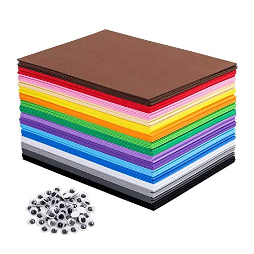 80 PCS EVA Foam Handicraft Sheets, Craft Foam Sheets Assorted Colorful for Craft Projects,Kids DIY Projects Classroom Parties and More(16 Colors - 8.25 x 5.8 inches)