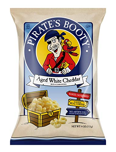 Pirate's Booty Cheese Puffs, Healthy Kids Snacks, Real Aged White Cheddar, 4oz Grocery Sized Bag