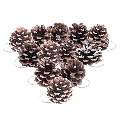 CHIC-CHIC 12PCS Pomme de Pin Décoration à Suspendre pour Sapin de Noël Christmas Decor Boules de noël