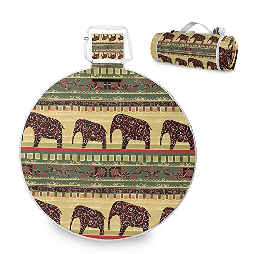 Manta de picnic africana bohemia, diseño de elefante de mandala para playa, impermeable, a prueba de arena, bolsa plegable para jardín, camping, viajes, yoga, sin arena, 150 x 150, acolchado grande