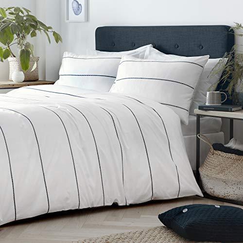 Appletree Salcombe-Duvet Cover Set, 100% Cotton, White & Navy, Super-King