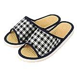 JNE Indoor Open Toe Non-Slip Acupressure Reflexology Massage Slippers (Recommended for.(Size up to: Women 12/Men 10), CheckPattern-Black)