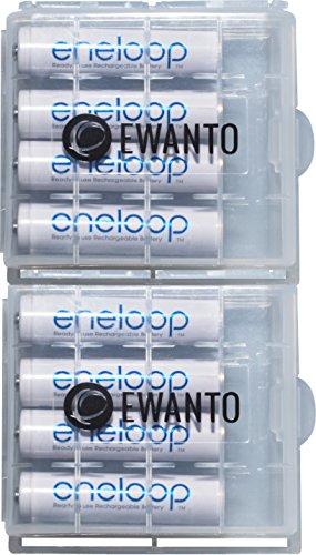 Panasonic Eneloop AAA Akkus 8X - Micro - HR03 inkl. 2X hochwertiger EWANTO Akkubox/Batteriebox