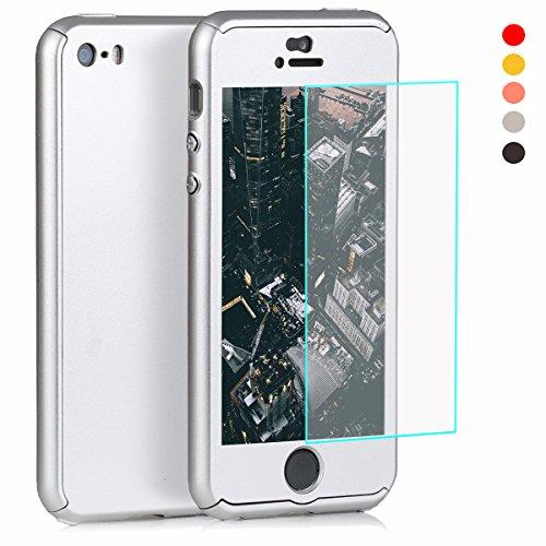 Funda completa para iPhone SE, 5S, 5, con cristal templado, 360º