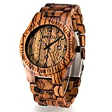 Bewell Wooden Watch Mens Date Display Quartz Analog Luminous Hands W086B (Zebra Wood)