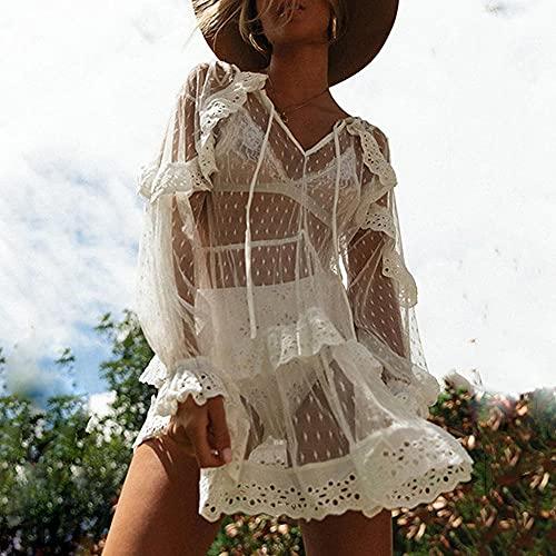 Verano Mujer Bikini Cubierta De La Playa Vestido De La Playa De La Manga Larga De La Dama Ver A Través del Vestido Mini Vestido De Malla Traje De Baño Traje De Baño Cubiertas De Baño-Blanco_Metro