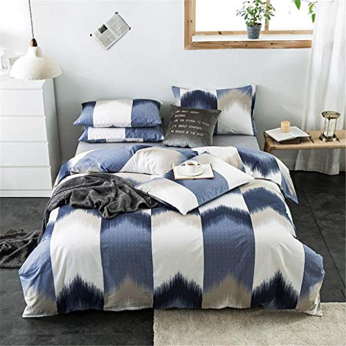 GHL.YTE Cotton 4Pcs Queen King Size Duvet Cover Set Gingham Plaid Geometric Stripe Pattern Bedding Set Flat/Fitted Sheet Pillowcases Color 15 Flat Bed Sheet Queen size 4Pcs