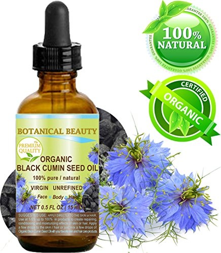 Botanical Beauty ORGANIC BLACK CUMIN SEED OIL - Nigella sativa. 100% Pure/Natural/Virgin/Undiluted. For Skin, Hair, Lip and Nail Care (0.5 Fl. oz. - 15 ml.)