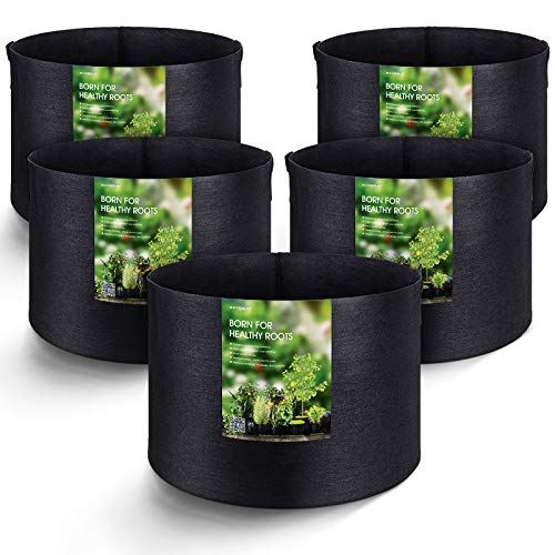 MAXSISUN 5-Pack 20 Gallon Plant Grow Bags, Heavy Duty...
