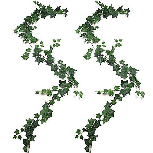 JUSTOYOU 2 guirnaldas de Hojas de Hiedra de 5.9 FT, Hojas de Hiedra Artificiales, follaje Colgante, Plantas de Vid para el hogar(Verde)