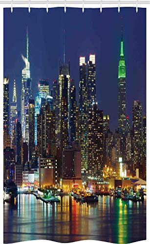 ABAKUHAUS New York Schmaler Duschvorhang, NYC Zentrum Hafen Himmel, Badezimmer Deko Set aus Stoff mit Haken, 120 x 180 cm, Königsblau Mehrfarbig