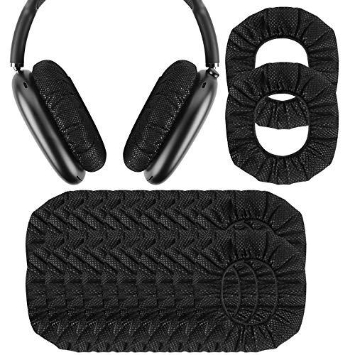 Geekria 30 pares de fundas desechables para auriculares AirPod Max, fundas para auriculares, fundas para auriculares, fundas higiénicas elásticas, para auriculares de 3.14-4.33 pulgadas, color negro