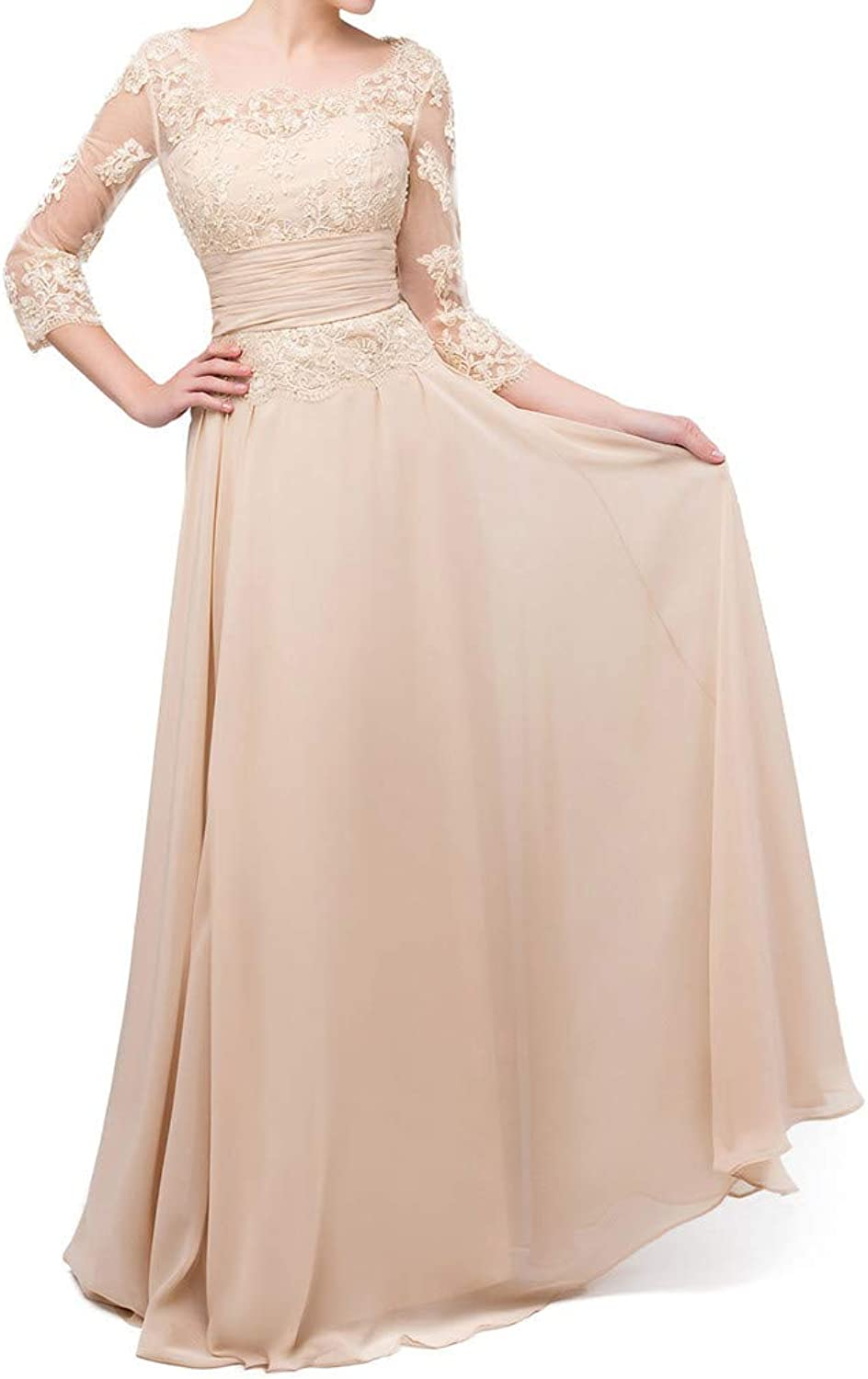 Butmoon Womens Lace Mother of The Bride Dress Plus Size Long Champagne Formal Party Gown