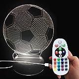 DONJON lampe football, 3D Lampes Illusions Optiques 16 couleurs Changement Tactile Interrupteur Lumière De Nuit (football light)