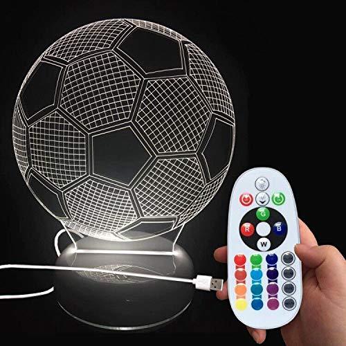 3D lampara ,LED lámpara de noche ,Lámpara de Escritorio Mesa,3D Ilusión óptica Lámpara balón de fútbol con control remoto inalámbrico