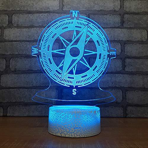 BFMBCHDJ Kreative Geburtstagsgeschenk Kompass 3D Kleine Nachttischlampe Acryl Nachttischlampe Wohnzimmer Dekorative Tischlampe A1 Schwarz basis