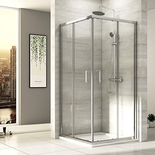 EMKE Eckeinstieg Duschkabine 90 x 90 cm Duschabtrennung Doppel Schiebetür Duschtür Duschwand Mit Nano-Beschichtung Höhe 195cm