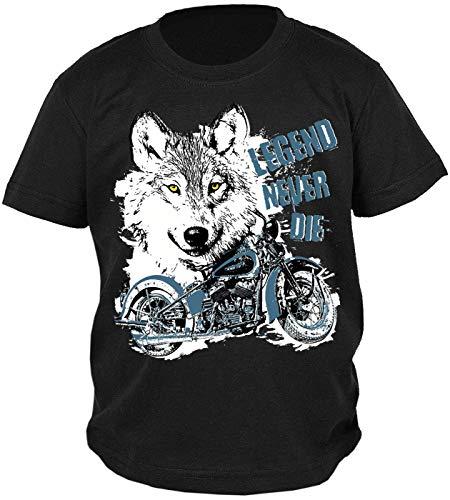 Wolf Motorrad Motiv Kindershirt - Kinder T-Shirt Biker : Legend Never Die - Kinder Motorrad Sprüche Shirt Wolfkopf Gr: XS