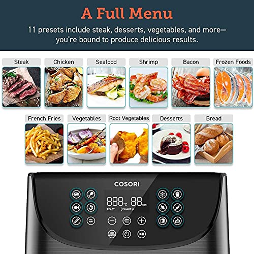 COSORI Air Fryer with 100 Recipes Cookbook, XXL 5.5L Oil Free Air Fryers for Home Use, 11 Presets, Preheat & Shake Reminder, LED Onetouch Screen, Timer & Temperature Control,Nonstick Basket,1700W