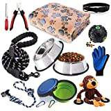 Puppy Starter Kit,12 Piece Dog Supplies Assortments,Set Includes:Dog Toys / Dog Bed Blankets / Puppy Training Supplies / Dog Grooming Tool / Dog Leashes Accessories / Feeding